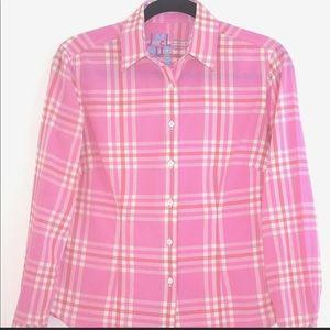 J. McLaughlin Pink Plaid Button Down Size 8